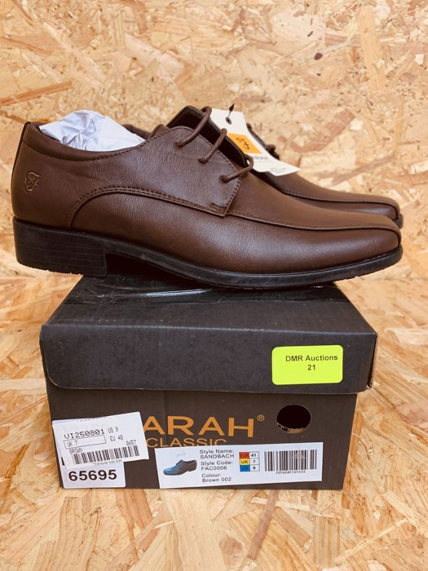 FARAH MENS SANDBACH LEATHER SHOES - UK SIZE 7/BROWN