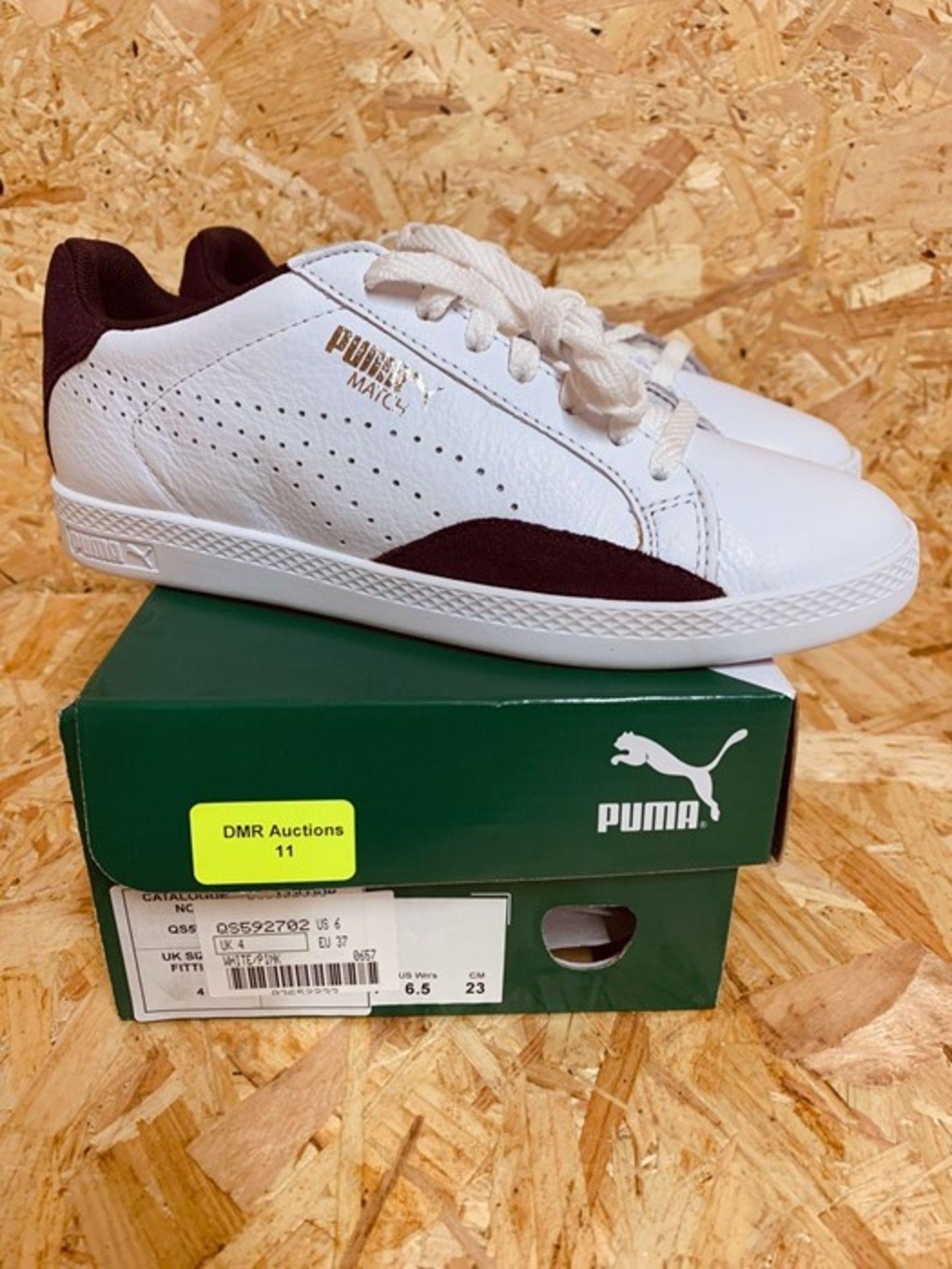 PUMA LADIES LO MATCH BASIC SPORTS TRAINER - UK SIZE 4/WHITE/PINK