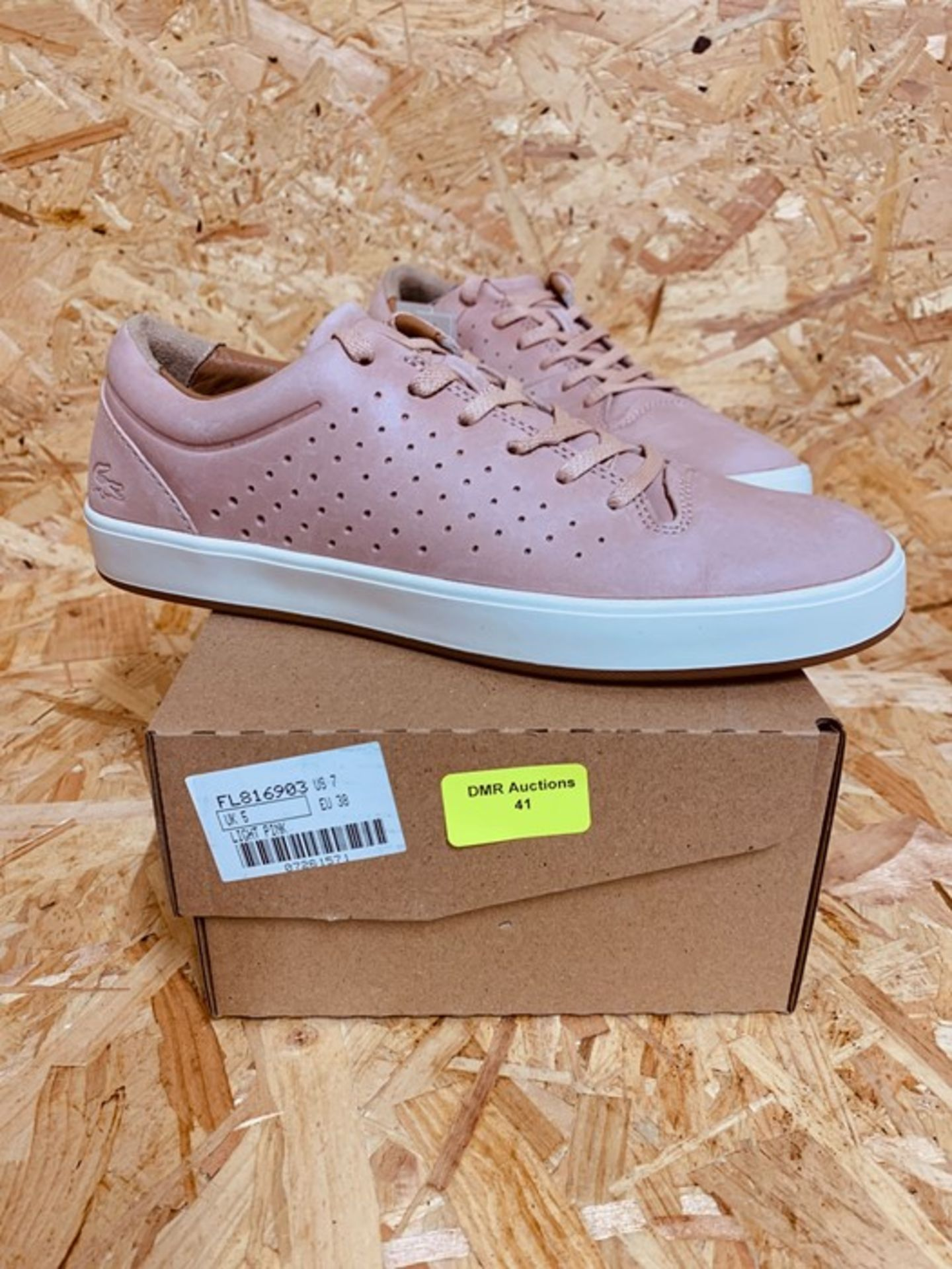 LACOSTE LADIES LEATHER SNEAKERS - UK SIZE 5/PINK