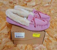 LADIES LEATHER FUR LINED SLIPPERS - UK SIZE 4/PINK