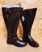 LEGROOM HI LEG LADIES LEATHER BOOTS, CURVY CALF - UK SIZE 4/BLACK