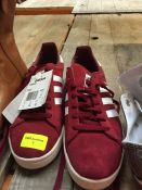 1 LOT TO CONTAIN A PAIR OF ADIDAS CAMPUS RED TRAINERS IN SIZE 7.5