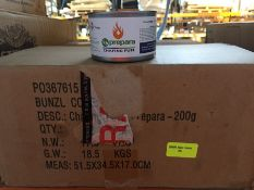 1 LOT TO CONTAIN A BOX OF 72 X PREPARA CHAFING FUEL 200G TINS