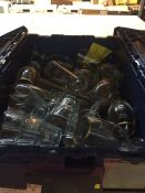 1 LOT TO CONTAIN A TOTE FULL WITH AN ASSORTMENT OF GLASSES IN VARIOUS STYLES AND SIZES