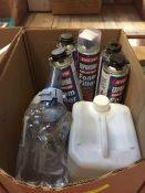 1 LOT TO CONTAIN AN ASSORTMENT OF OFFICE SUPPLIES, ITEMS TO INCLUDE : VARIOUS CLEANING CHEMICALS AND