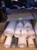1 LOT TO CONTAIN A BOX OF ASSORTED WALLPAPER, THERE ARE 11 ROLLS IN THIS LOT, CONDITIONS VARY