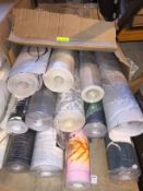 1 LOT TO CONTAIN A BOX OF ASSORTED WALLPAPER, THERE ARE 13 ROLLS IN THIS LOT, CONDITIONS VARY