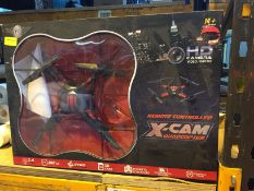 1 LOT TO CONTAIN A BOXED REMOTE CONTROLLED X-CAM QUADCOPTER / RRP £33.99 / UNTESTED