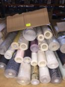 1 LOT TO CONTAIN A BOX OF ASSORTED WALLPAPER, THERE ARE 21 ROLLS IN THIS LOT, CONDITIONS VARY