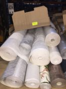 1 LOT TO CONTAIN A BOX OF ASSORTED WALLPAPER, THERE ARE 9 ROLLS IN THIS LOT, CONDITIONS VARY