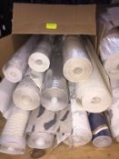 1 LOT TO CONTAIN A BOX OF ASSORTED WALLPAPER, THERE ARE 10 ROLLS IN THIS LOT, CONDITIONS VARY