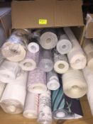 1 LOT TO CONTAIN A BOX OF ASSORTED WALLPAPER, THERE ARE 16 ROLLS IN THIS LOT, CONDITIONS VARY
