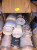 1 LOT TO CONTAIN A BOX OF ASSORTED WALLPAPER, THERE ARE 7 ROLLS IN THIS LOT, CONDITIONS VARY