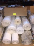 1 LOT TO CONTAIN A BOX OF ASSORTED WALLPAPER, THERE ARE 8 ROLLS IN THIS LOT, CONDITIONS VARY