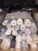 1 LOT TO CONTAIN A BOX OF ASSORTED WALLPAPER, THERE ARE 25 ROLLS IN THIS LOT, CONDITIONS VARY