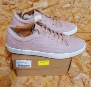 LACOSTE TAMORA WOMENS LEATHER LACE UP TRAINERS - UK SIZE 7/LIGHT PINK