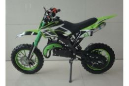 1 LOT TO CONTAIN AN AS NEW BOXED FALCON KIDS 49CC MINI DIRT BIKE IN GREEN