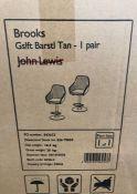 2 x JOHN LEWIS BROOKS GAS LIFT ADJUSTABLE BAR CHAIRS