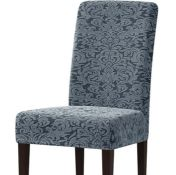 DAMASK PRINTED SOFT STRETCHY BOX CUSHION DINING CHAIR SLIPCOVER (SET OF 4) - GREY/GREEN BY SUBRTEX