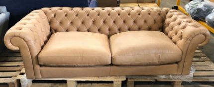JOHN LEWIS CROMWELL CHESTERFIELD GRAND 4 SEATER LEATHER SOFA