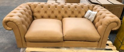 JOHN LEWIS CROMWELL CHESTERFIELD LARGE 3 SEATER LEATHER SOFA