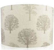 TREE COTTON DRUM LAMP SHADE / SIZE: 20CM H X 30CM W X 30CM D BY BRAMBLY COTTAGE