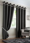 MCKEE PALACE EYELET BLACKOUT THERMAL CURTAINS - CHARCOAL / PANEL SIZE: 117 W X 137 D CM BY ROSDORF P