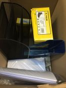 1 LOT TO CONTAIN AN ASSORTMENT OF OFFICE SUPPLIES, ITEMS TO INCLUDE : A3 PAPER, WORK BOOTS, DESK