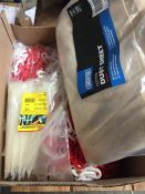1 LOT TO CONTAIN A BOX OF RED AND WHITE PLASTIC SECURITY CHAINS AND CABLE TIES - L10