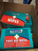 1 LOT TO CONTAIN A BOX OF FIRST AID REFILLS AND ALCOHOL FREE WIPES - L10