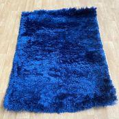 LA REDOUTE POLAR PL95 SHAGGY RUGS IN NAVY BLUE 120X170CM