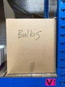 1 X HALF A BOX TO CONTAIN AN ASSORTMENT OF BULBS AND OTHER ELECTRONIC GOODS / CONDITIONS VARY,