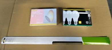 1 X VERY LARGE BOX TO CONTAIN A LARGE ASSORTMENT OF BULBS, LIGHTS AND LIGHTING FIXTURES / CONDITIONS