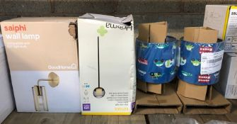4 X ASSORTED LAMPS AND LIGHTS / COLOURS AND DESIGNS VARY / MIXED CONDITIONS, UNTESTED