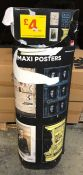 1 X RETAIL POSTER STAND/BOX WITH POSTERS / 4 DIFFERENT DESIGNS OF POSTER / MIXED CONDITIONS