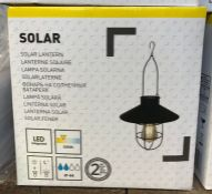 6 X BLACK SOLAR-POWERED LED OUTDOOR LANTERNS / COMBINED RRP £60.00 / GRADE A. UNTESTED