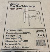 JOHN LEWIS AMERIA TRAY LARGE SIDE TABLE, GREY