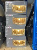 ONE LOT TO CONTAIN 4 X COLOURS DIONE WALL LIGHT FITTING BOXED