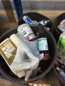 ONE LOT TO CONTAIN 2 LARGE TUBS OF CLEANING CHEMICALS (DE-ICER, CAR SHAMPOO AND MOTOR OILS) (
