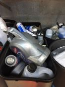 ONE LOT TO CONTAIN 2 LARGE TUBS OF CLEANING CHEMICALS (OILS AND CAR CLEANING PRODUCTS) (UNTESTED