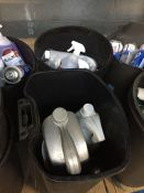 ONE LOT TO CONTAIN 2 LARGE TUBS OF CLEANING CHEMICALS (MOTOR OIL, CAR SHAMPOO, DE-ICER) (UNTESTED