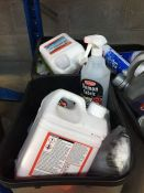 ONE LOT TO CONTAIN 2 LARGE TUBS OF CLEANING CHEMICALS (MOTOR OIL,BLUE STAR DE-ICER AND CAR SHAMPOOS)