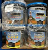 8 X 9L TUBS OF RONSEAL FENCE LIFE PLUS+ PAINT - COLOURS VARY / CUSTOMER RETURNS