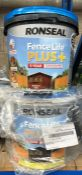 5 X 9L TUBS OF RONSEAL FENCE LIFE PLUS+ PAINT - COLOURS VARY / CUSTOMER RETURNS