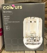 2 X BROMLEY CHROME EFFECT WALL LIGHTS / COMBINED RRP £30.00 / UNTESTED CUSTOMER RETURN