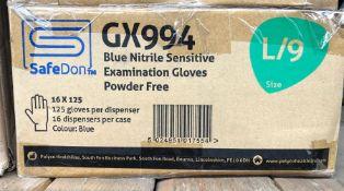 1 X BOX TO CONTAIN 16 X 125 SAFEDON BLUE NITRILE SENSITIVE EXAMINATION GLOVES POWDER FREE / AS NEW