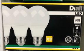 7 X PACKS OF DIALL LED E27 GLS LED LIGHT BULKS (3 BULBS PER PACK) / AS NEW