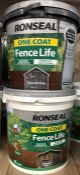 2 X 9L TUBS OF RONSEAL FENCE LIFE PAINT - RED CHARCOAL GREY / CUSTOMER RETURNS