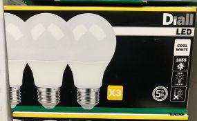 10 X PACKS OF DIALL LED E27 GLS LED LIGHT BULKS (3 BULBS PER PACK) / AS NEW