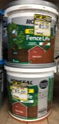4 X 9L TUBS OF RONSEAL FENCE LIFE PAINT - RED CEDAR / CUSTOMER RETURNS